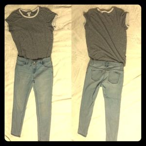 Blue Jean and Grey shirt Casual Girls Outfit